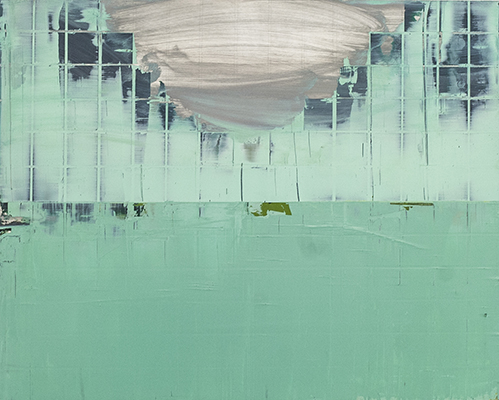 Wall of mint 61cm x 92cm oil on stainless steel