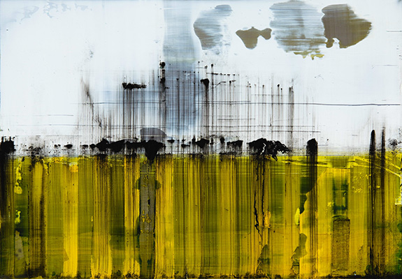 Yellow fence 25cm x 30cm oil on stainless steel
